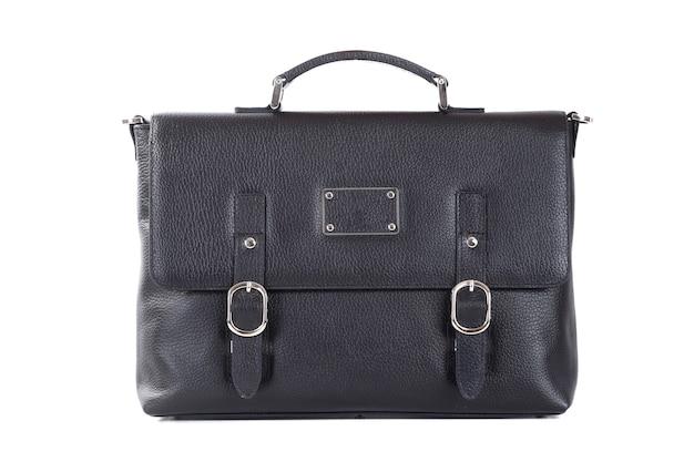 Bolsa de couro masculina elegante isolada em superfície branca