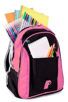 Bolsa de escola com material para estudantes