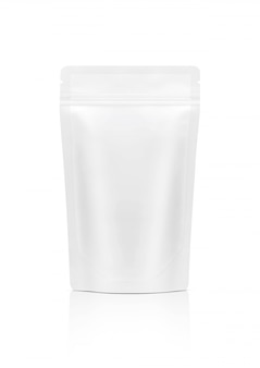 Bolsa de lanche com zíper branco isolada