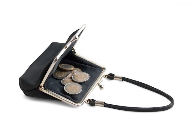 Bolsa de moedas em preto isolado