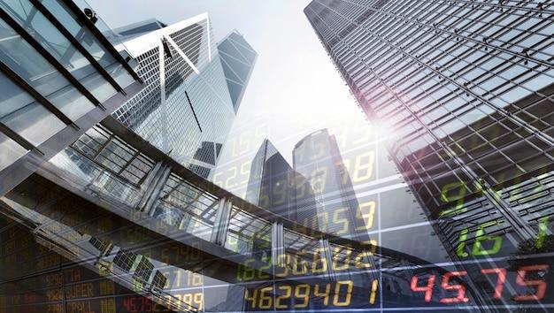 Bolsa de valores em um arranha-céu no fundo de hong kong