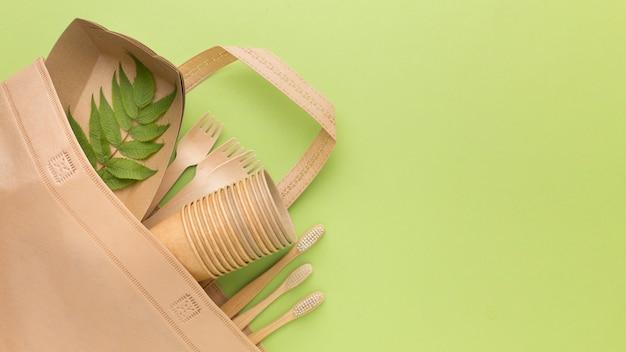 Bolsa ecológica com talheres
