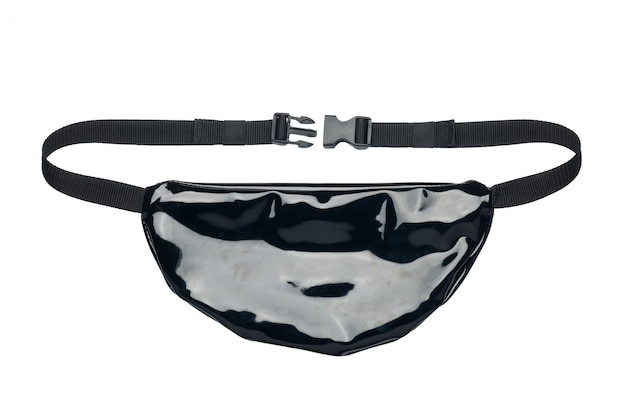 Bolsa lacada de faixa preta isolada no fundo branco.