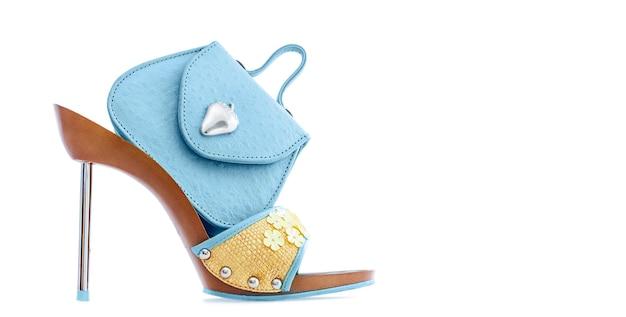 Bolsa pequena azul em sapato estilete feminino, isolado no branco