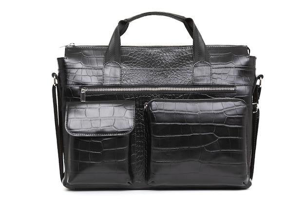 Bolsa preta para homens feita de couro genuíno close up Foto Premium