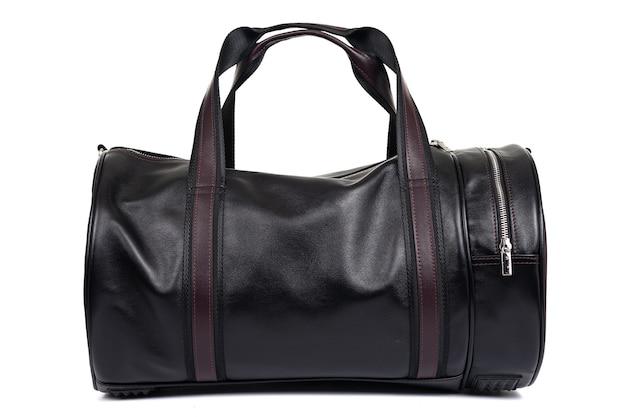 Bolsa preta para homens feita de couro genuíno