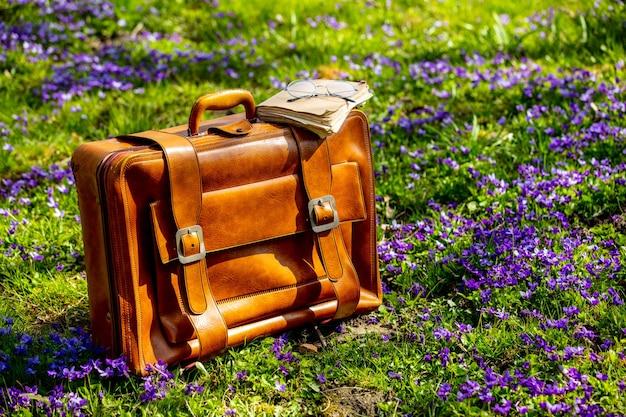 Bolsa vintage e livros antigos com óculos em um prado com flores roxas