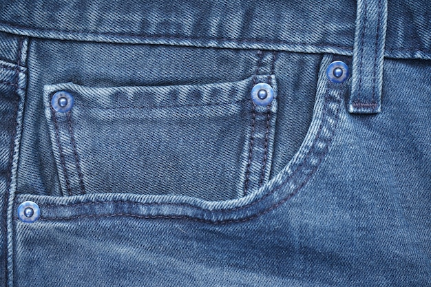 Bolso azul frontal de jeans, close-up