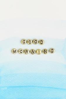 Bom dia letras miçangas palavra