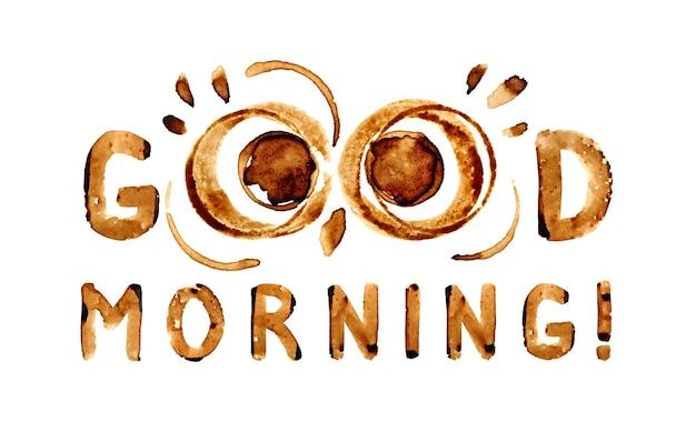 Bom dia! - olhos engraçados de coruja por manchas de café e desejo