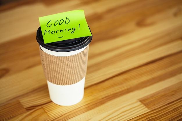 Bom dia. xícara de café para ir