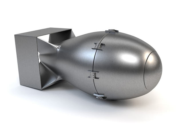 Bomba nuclear cinzenta isolada em um fundo branco.