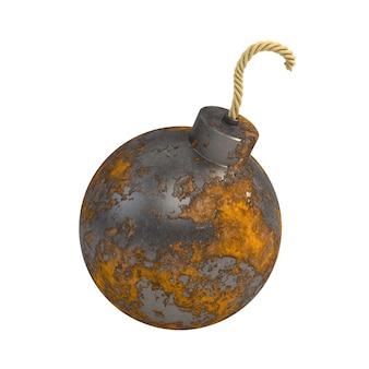 Bomba oxidada redonda isolada em um fundo branco.