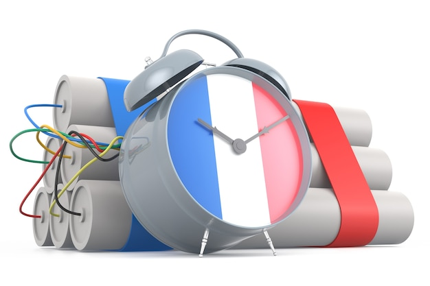 Bomba-relógio com bandeira francesa. renderização 3d