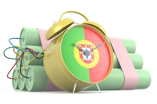 Bomba-relógio com bandeira portuguesa. renderização 3d