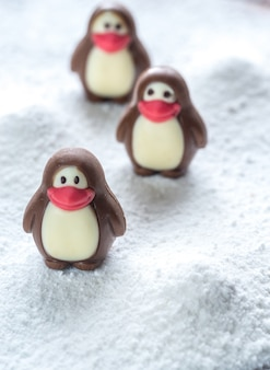 Bombons de chocolate em forma de pinguins
