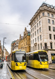 Bonde urbano no centro de manchester, noroeste da inglaterra