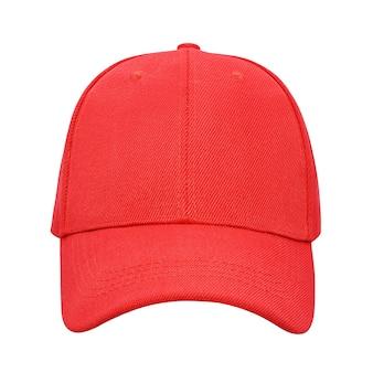 Boné de beisebol vermelho isolado no fundo branco com traçado de recorte
