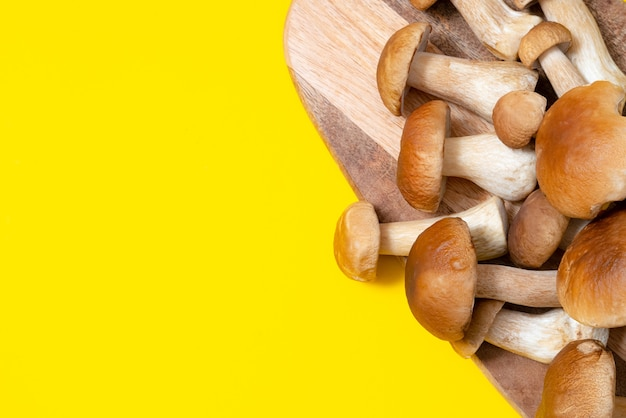 Boné marrom boletus edulis em uma placa de corte em fundo amarelo. cogumelos comestíveis em uma prancha de madeira na cozinha. ninguém