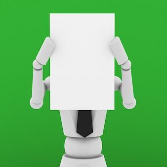 Boneca de negócios mostrando um papel em branco na frente do rosto