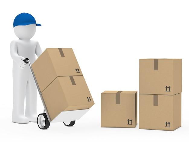Boneca de pano acumulando caixas