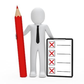 Boneca de pano com um lápis vermelho e lista de verificação