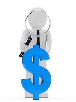 Boneca de pano com uma lupa gigante e um símbolo azul do dólar