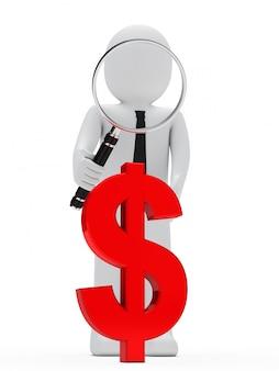 Boneca de pano com uma lupa gigante e um símbolo vermelho do dólar