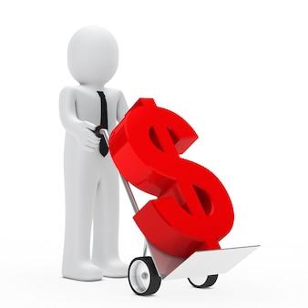Boneca de pano transportados em um símbolo carrinho de mão do dólar no vermelho