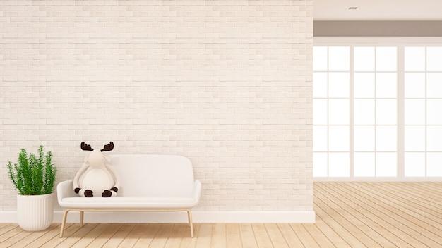 Boneca de rena no sofá na sala de estar - design de interiores para obras de arte - renderização em 3d