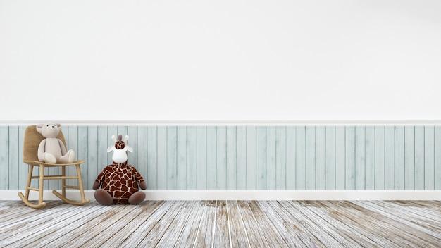 Boneca girafa e ursinho de pelúcia na decoração de madeira - renderização 3d