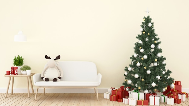 Boneca rena, árvore de natal e presente na sala de estar