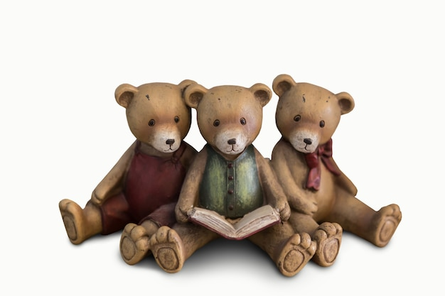 Boneca ursinha de madeira em posição lendo o livro isolado no branco