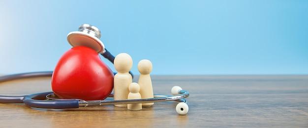 Bonecas de madeira da família com estetoscópio e um coração vermelho.