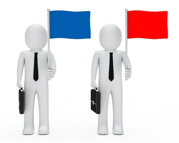 Bonecas de pano com bandeiras azuis e vermelhas