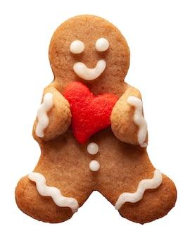 Boneco-biscoito fofo e engraçado com decoração de coração para o dia dos namorados
