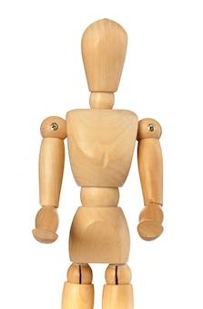 Boneco de madeira que traz algo com as mãos para a frente