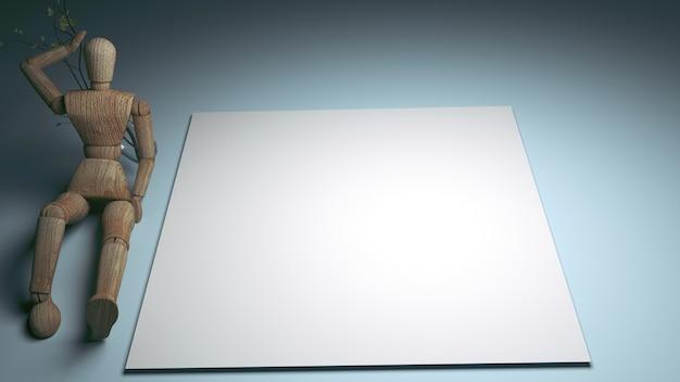 Boneco de madeira segurando vazio cartão em branco branco para o seu texto. renderização 3d