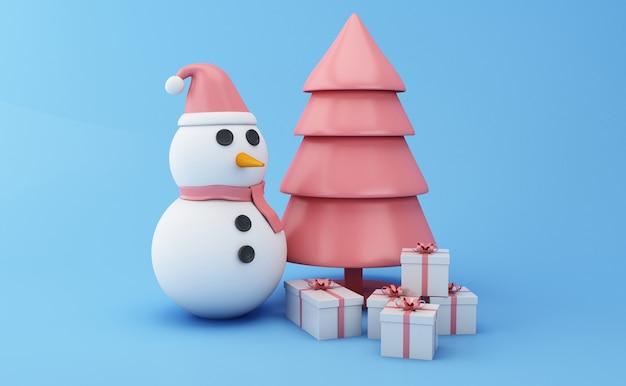 Boneco de neve 3d com árvore e presentes de natal.
