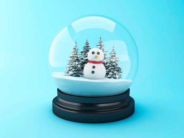 Boneco de neve 3d em uma abóbada da neve.