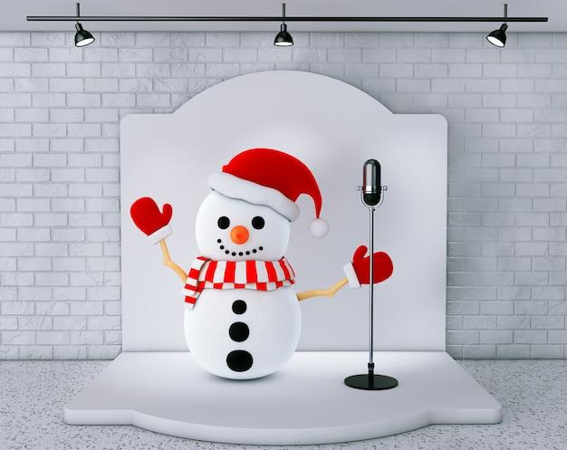 Boneco de neve com microfone vintage em pé no palco closeup extrema