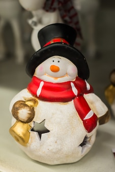Boneco de neve de natal em madeira