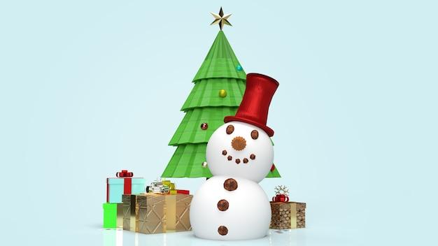 Boneco de neve e árvore de natal renderização em 3d