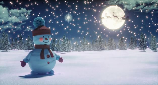 Boneco de neve e papai noel andando de trenó na noite de natal