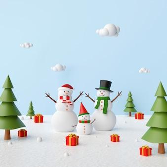 Boneco de neve em uma floresta de pinheiros com presentes de natal, renderização em 3d