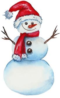Boneco de neve engraçado em um chapéu de papai noel.