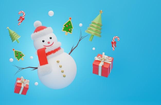 Boneco de neve na época do natal em renderização 3d