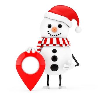 Boneco de neve na mascote de personagem de chapéu de papai noel com pino de ponteiro de mapa de destino em um fundo branco. renderização 3d