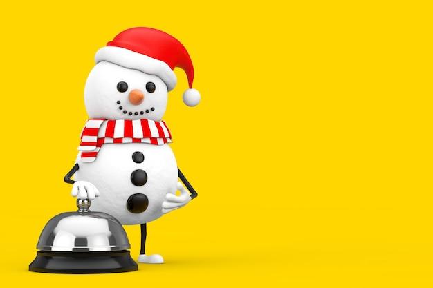 Boneco de neve na mascote do personagem de chapéu de papai noel com chamada de campainha de serviço de hotel em um fundo amarelo. renderização 3d