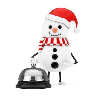 Boneco de neve na mascote do personagem de chapéu de papai noel com chamada de campainha de serviço de hotel em um fundo branco. renderização 3d